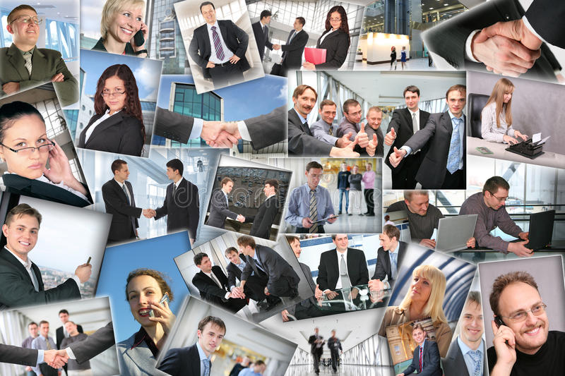 Many business pictures, collage. Many business pictures with businessmen, collage royalty free stock image