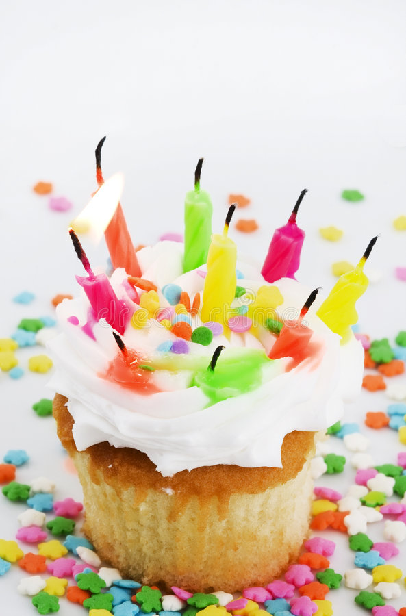 Many Candles Cupcake - One Lit Candle Royalty Free Stock Photography