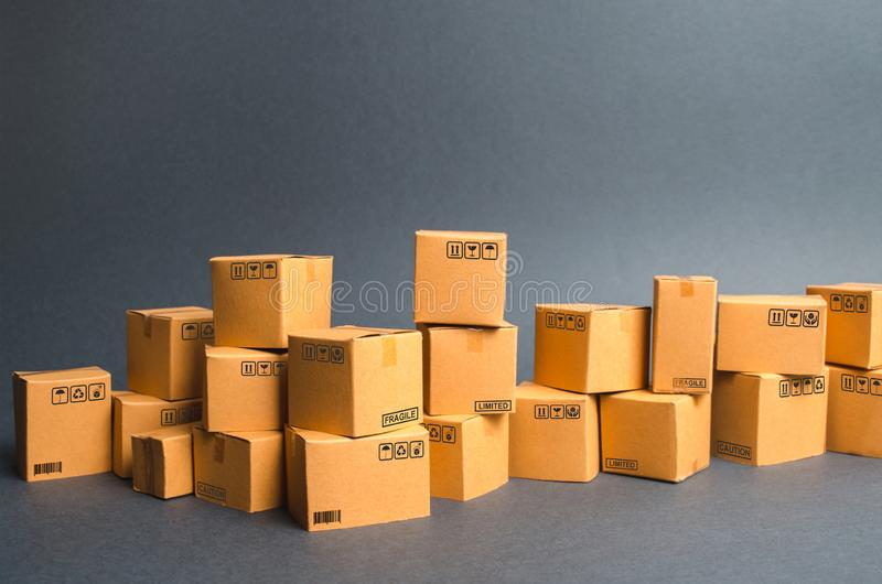 Many cardboard boxes. products, goods, Warehouse, stock. commerce and retail. E-commerce, sale of goods through online trading royalty free stock image