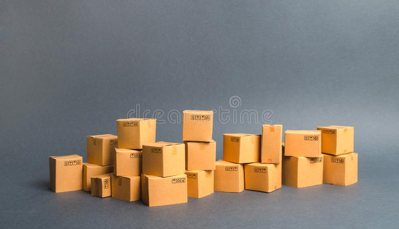 Many cardboard boxes. products, goods, Warehouse, stock. commerce and retail. Freight shipping, deliver. sales of goods royalty free stock photo