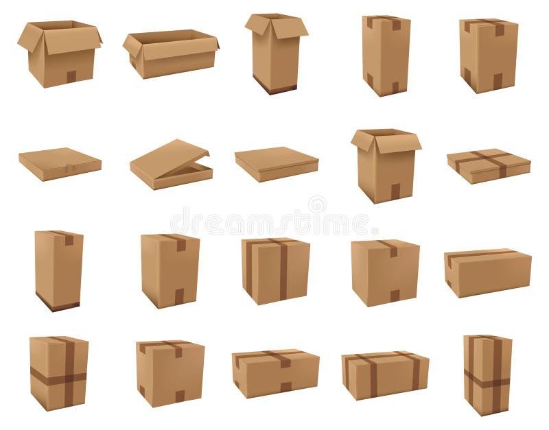 Many Cardboard boxes set vector stock illustration