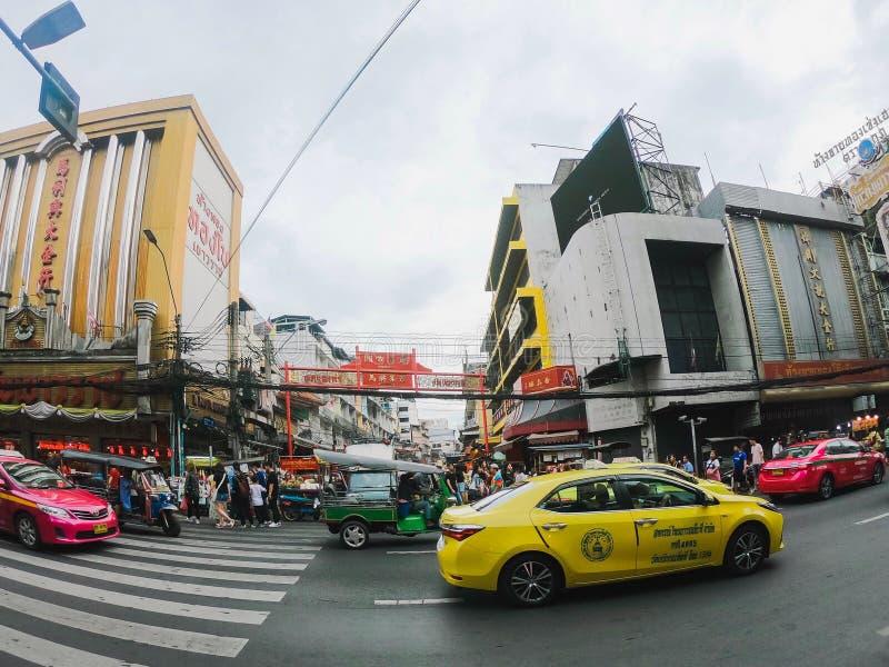 Many cars, bus and motorcycles cause traffic jams at Yaowarat Road at China town stock image