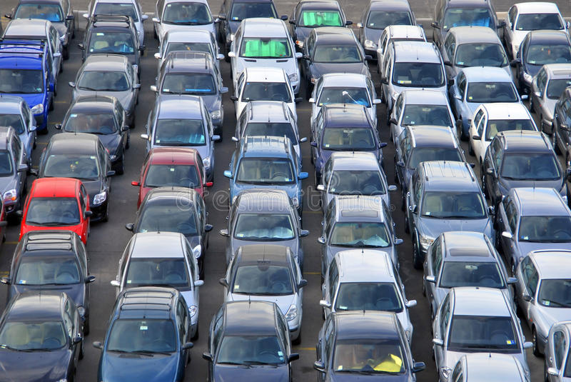Many Cars in the parking royalty free stock photo