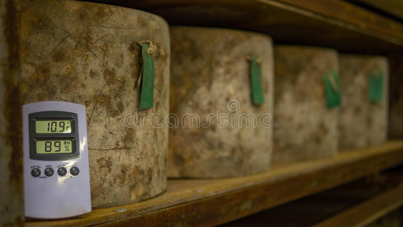 Many cheese wheels being stored in a Cheese Cathedral stock images