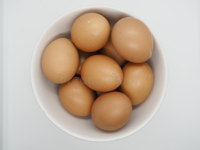 Many Chicken Brown Eggs in the White Bowl with white background royalty free stock images