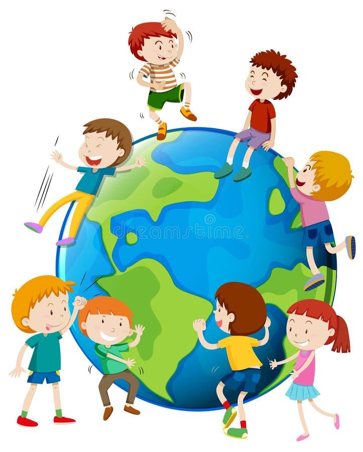 Many children areound the world. Illustration stock illustration