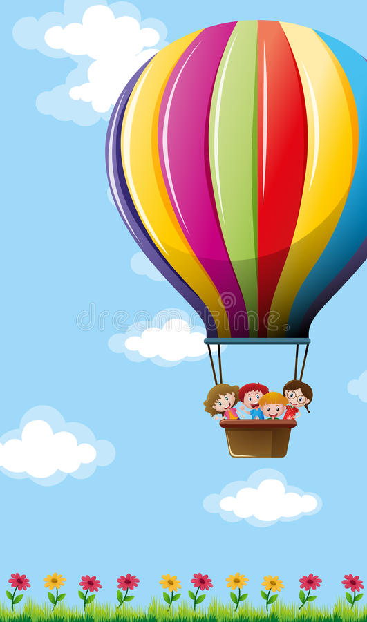 Many children flying on colorful balloon vector illustration