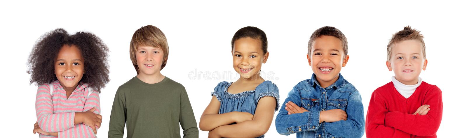 Many children looking at camera stock images