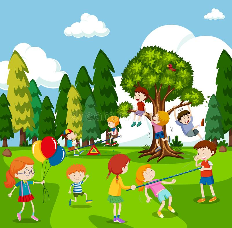 Many children playing games in park. Illustration royalty free illustration