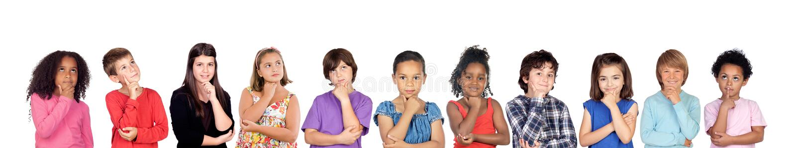 Many children thinking or imagine royalty free stock photography