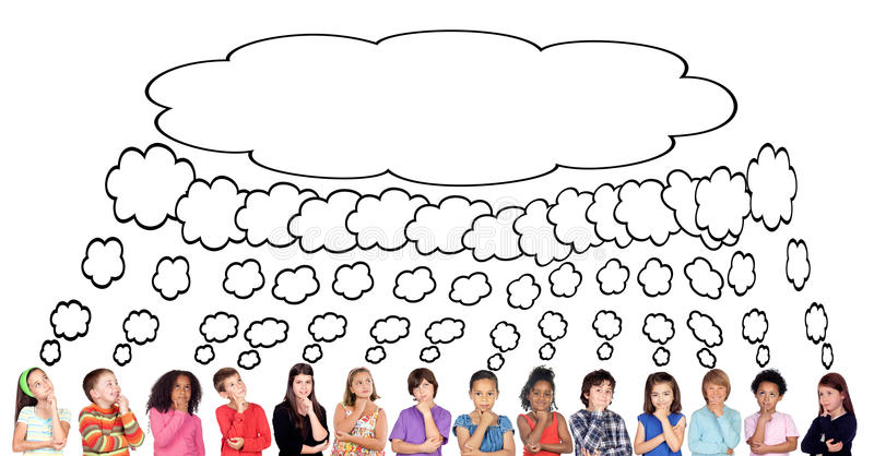 Many children thinking with a same thought stock illustration