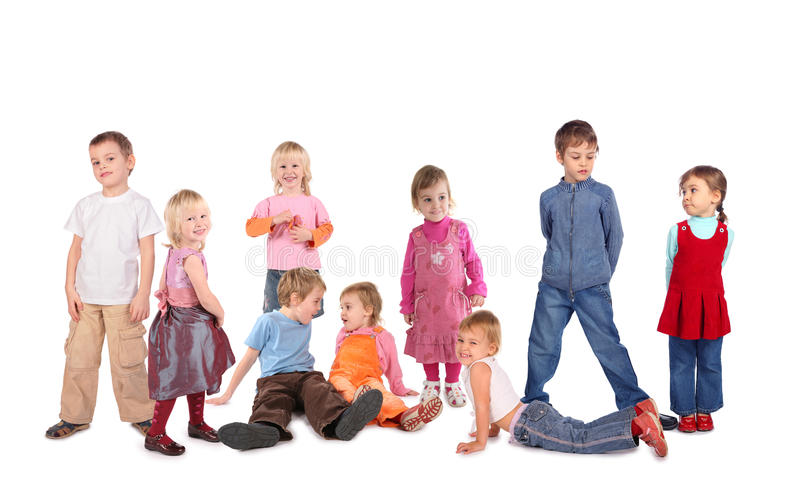 Many children on white, collage royalty free stock images