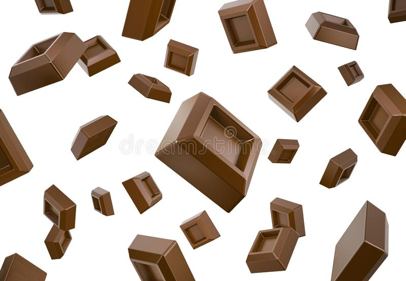 Many chocolate cubes falling down flying in white space vector illustration