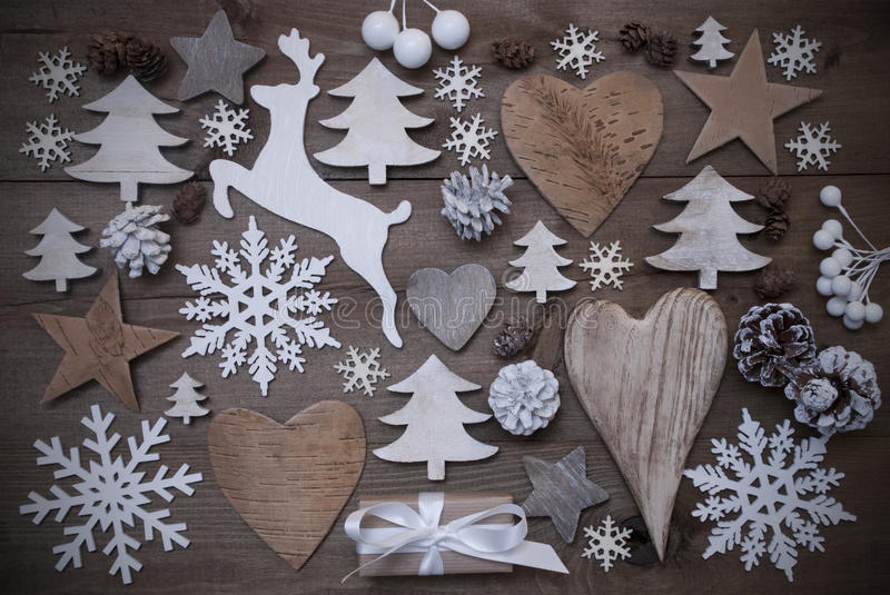 Many Christmas Decoration,Heart,Snowflakes,Star,Present,Reindeer. Wooden Background With Many Christmas Decoration.Christmas Present, Heart, Snowfalke, Fir Cone stock images