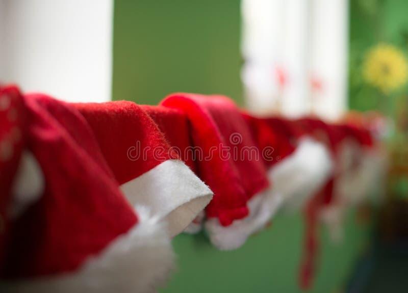 Many christmas hats. stock photography