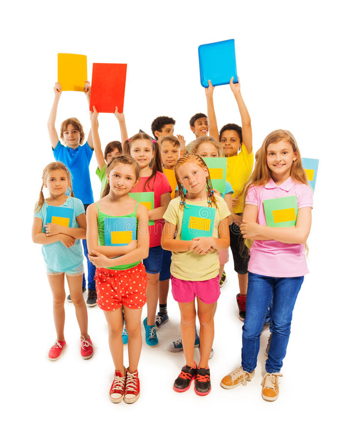 Many classmates standing ready to pass exam stock photos