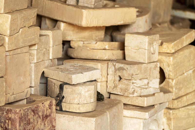 Many Clay Moulding Block Making in the Ceramics Factory stock photo