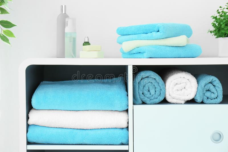 Many clean towels stock photography