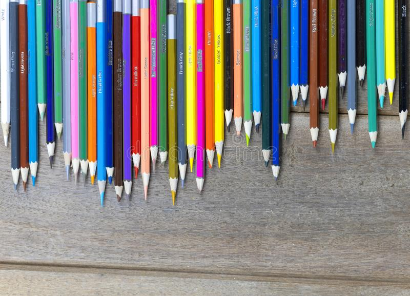 Many color pencils on wood table background with copy space for text or design. Abstract concept. Many color pencils on wood table background with copy space for royalty free stock photo