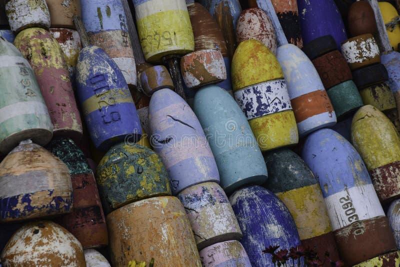 Many colored buoys stock photo