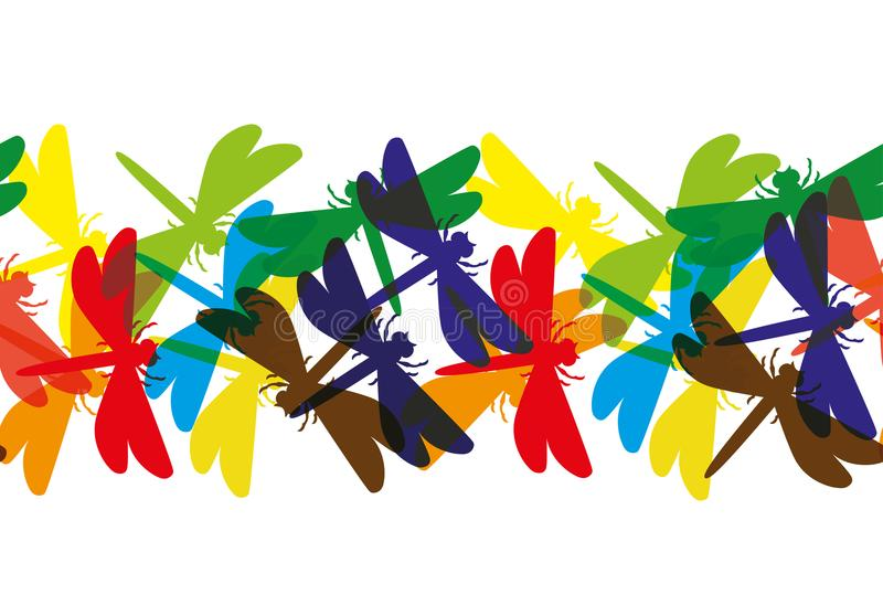 Many colored dragonflies. stock illustration