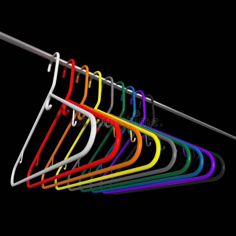 Many colored plastic coat hangers royalty free illustration