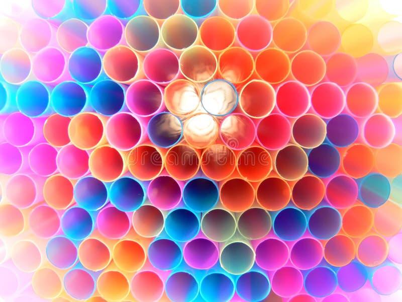Many colored straws stock photo