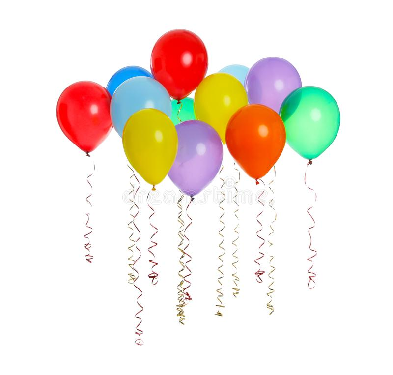 Many colorful balloons floating on white. Background royalty free stock photography