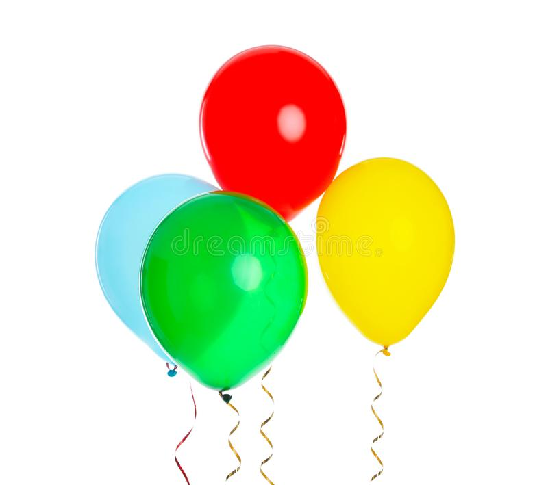 Many colorful balloons floating on white. Background royalty free stock images