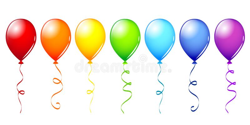Many colorful balloons in rainbow colors vector illustration