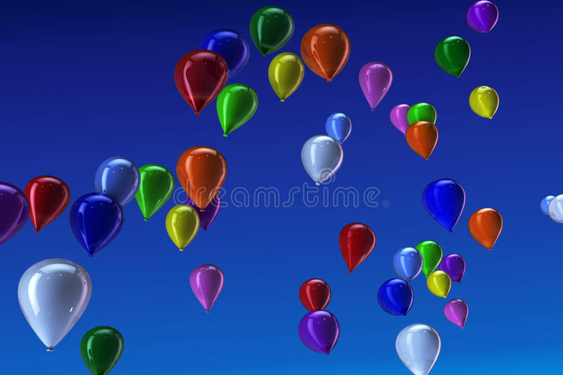 Download Many Colorful Balloons In The Sky Stock Illustration - Image: 20368936