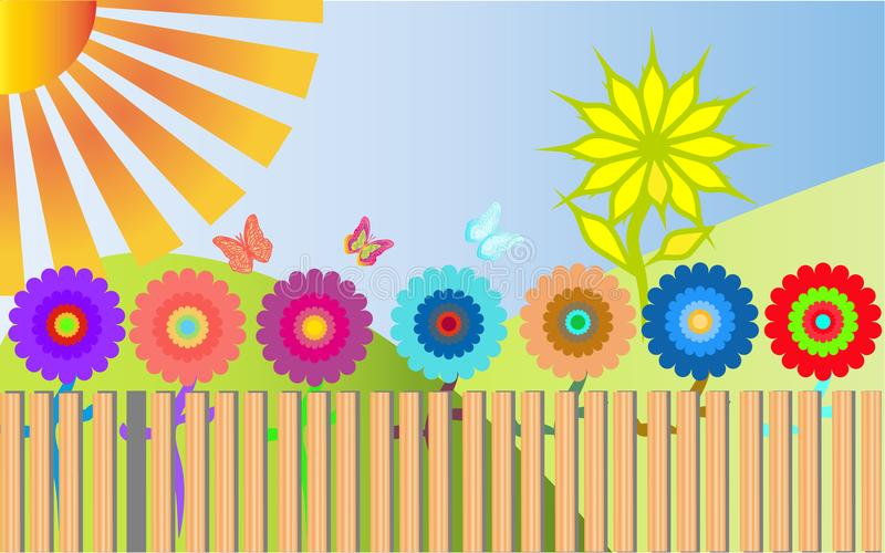 Many colorful, bright, motley flowers grow behind a wooden stock illustration