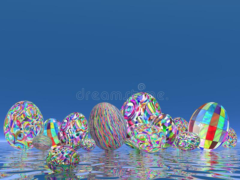 Many colorful Easter eggs concept - 3D render stock illustration