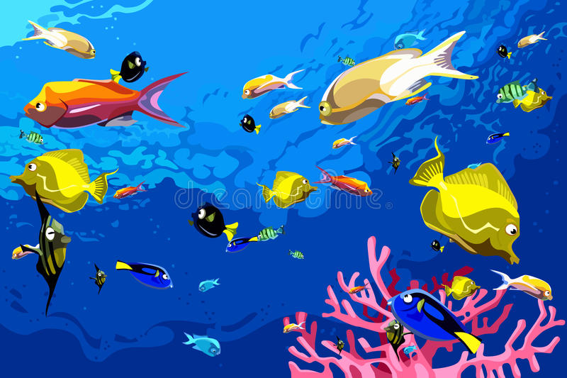 Many colorful fish swim under water stock illustration