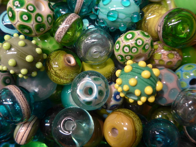 Many colorful glass beads royalty free stock photo