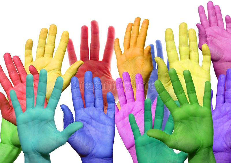Many colorful hands royalty free stock photos