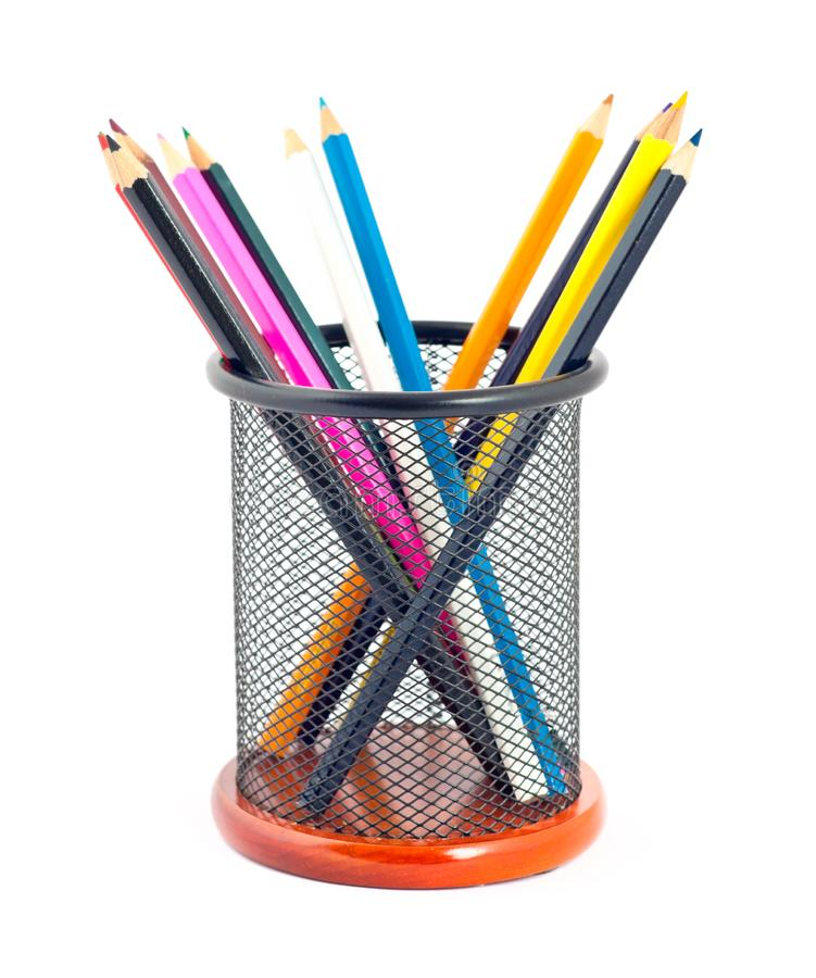 Many colorful pencils royalty free stock image