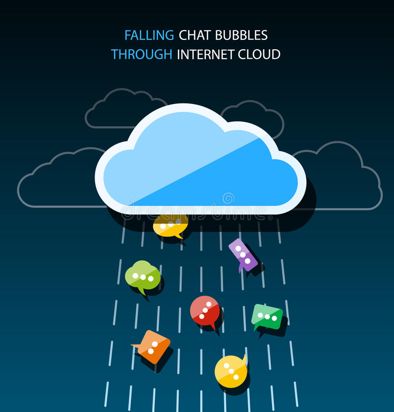 Many colorful speech bubbles falling through internet cloud stock illustration
