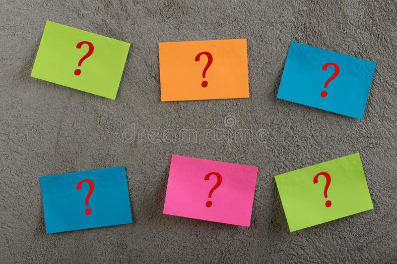 Many colorful sticky note with question mark royalty free stock photos