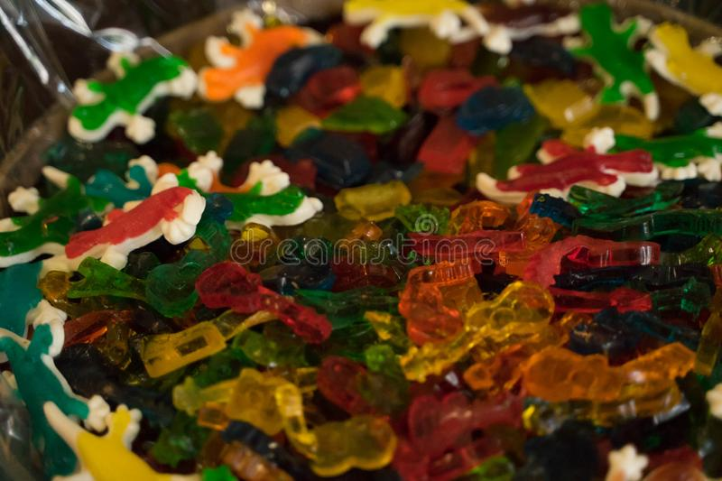 Many colorful sweets from marmalade, marshmallow, caramel - desserts stock image