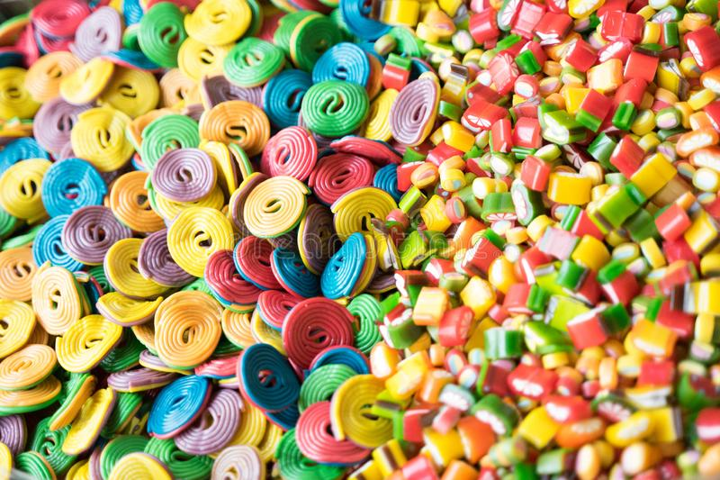 Many colorful sweets from marmalade, marshmallow, caramel - desserts stock images