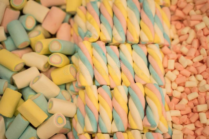 Many colorful sweets from marmalade, marshmallow, caramel - desserts stock photos