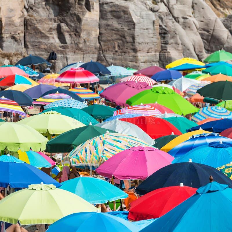 Many colorful umbrellas stock image