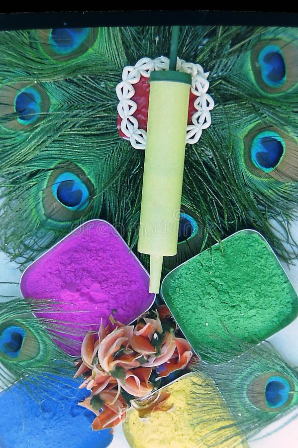 Many colors of decorated holi - with peacock feather-3.  royalty free stock images