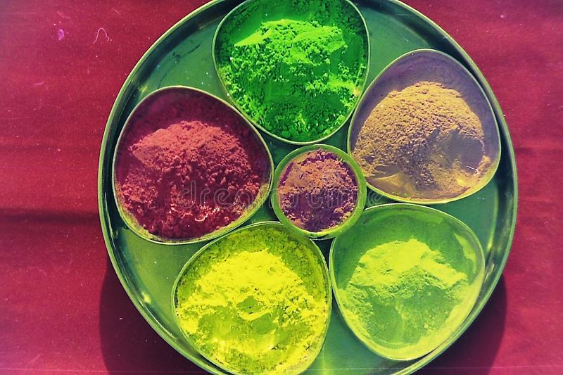 Many colors of holi decorated in a plate-6.  royalty free stock image