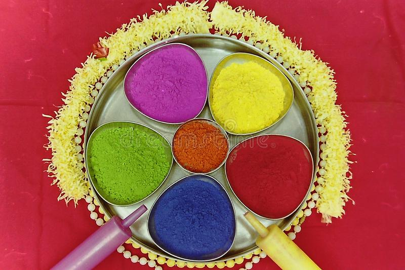 Many colors of holi decorated in a plate-3.  royalty free stock photos