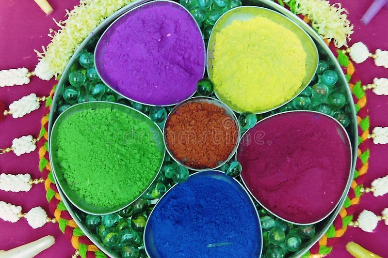 Many colors of holi decorated in a plate-2.  royalty free stock photos