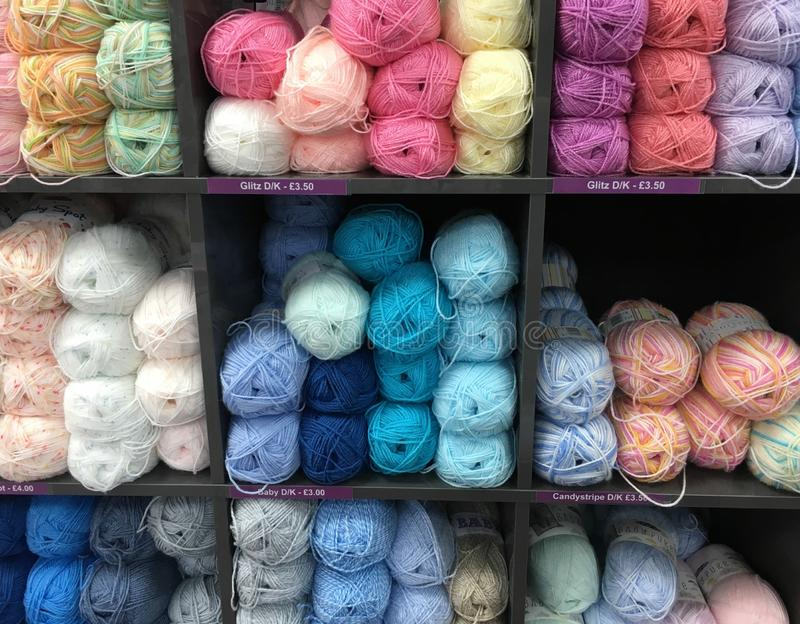 Rows of wool yarn royalty free stock image