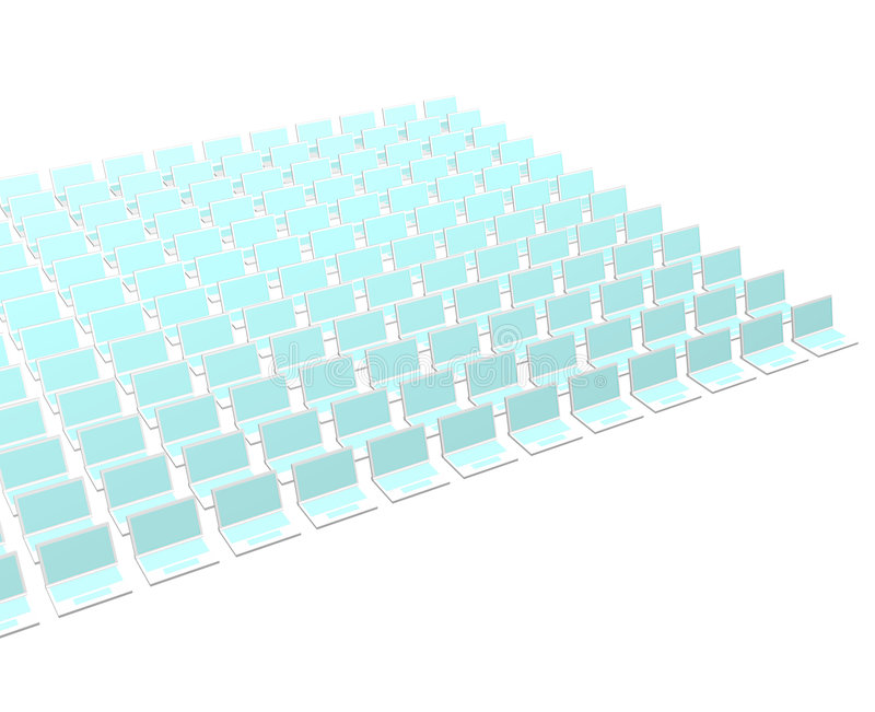 Many Computer Notebooks. On a White Background stock illustration