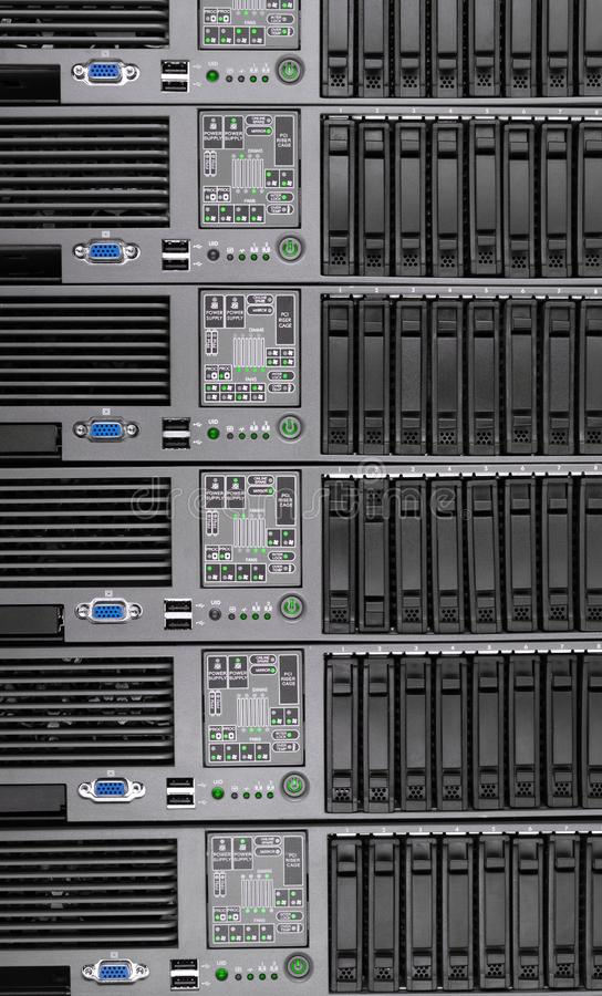 Many computer old server as the background. Internet technology stock image